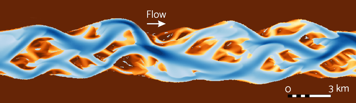 Example output from a HSTAR simulation of a sand-bed river.