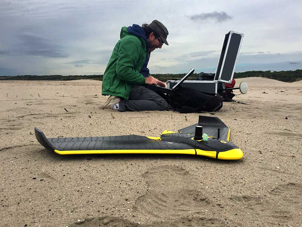 Setting up the eBee RTK UAV to fly its next mission mapping a portion of the South Saskatchewan River